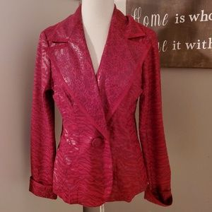 V Cristina Red Animal Print Jacket